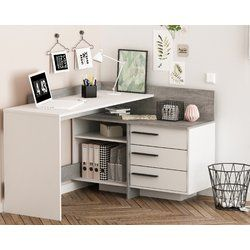 50+ White corner desk with shelves information