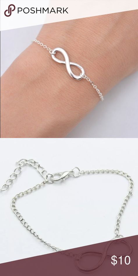Infinity Bracelet in Silver w Adjustable Clasp Infinity Bracelet in Silver w Adjustable Clasp. The Infinity sign symbolizes eternity, empowerment, and everlasting love. A great addition to your jewelry collection. Jewelry Bracelets