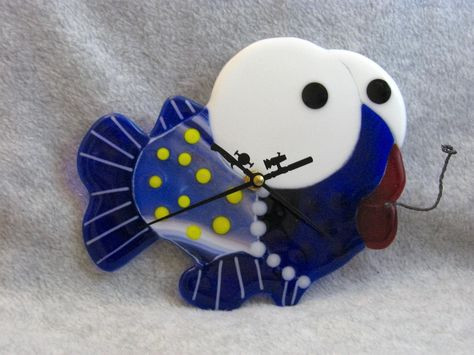 Blue Fish Wall Clock, Fused Glass Fish Clock, Child's Clock, Beach House, Fish Clock, Fused Glass Wall Decor, Fish Wall Decor by Mellyns on Etsy