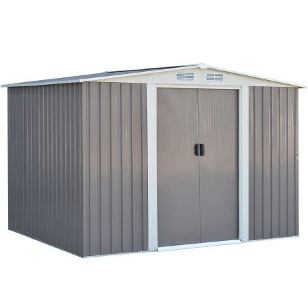 Costway 6 X8ft Outdoor Garden Storage Shed Tool House Sliding Door Galvanized Steel Gray 5 2 Outdoor Storage Sheds Small Outdoor Storage Garden Storage Shed