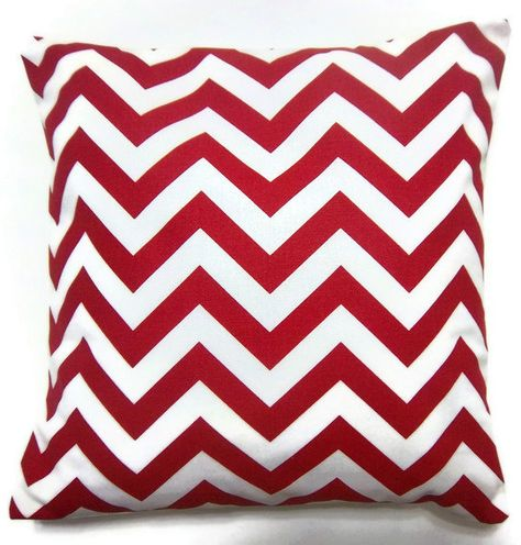 Red Chevron Pillow cover.Red and white