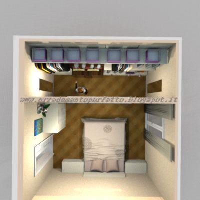 Vista dall\'alto della camera da letto con cabina armadio | Idee ...