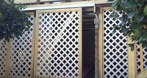 Take A Look At This Sliding Lattice Door For Under Deck Storage
