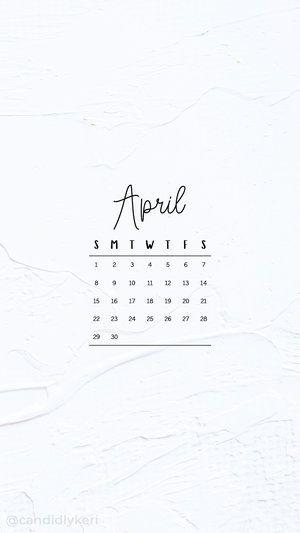 Black And White Paint Texture Clean Modern Cursive April Calendar