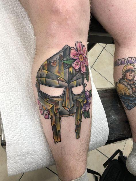 Finished MF DOOM tribute tattoo at Eric Gola @ Art Rage Tattoo in Scranton, PA