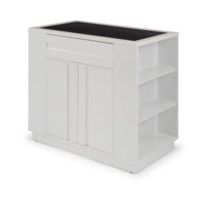 Design Element Medley White Kitchen Island With Slide Out Table Kd 01 W The Home Depot In 2020 Grey Kitchen Island White Storage White Kitchen Island