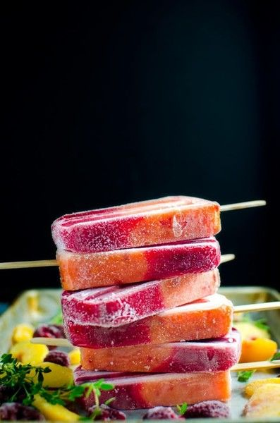 Thyme, Peach, Raspberry Popsicles - Fun Popsicle Recipes For Kids - Photos