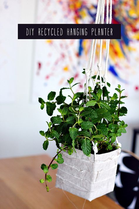 DIY Recycled Hanging Planter made from recycled Milk and Juice Cartons