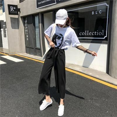 2019 Women Casual Loose Wide Leg Pants Womens Elegant Fashion Preppy S - sheheonline