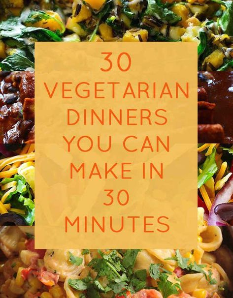 30 Quick Dinners With No Meat - super tasty meal ideas to decrease your meat consumption for Meatless Monday! Or anytime, if you're already vegetarian! vegetarian recipes 30 Quick Dinners With No Meat Going Vegetarian, Vegetarian Dinners, Vegetarian Cooking, Quick Vegetarian Dinner, Quick Vegetarian Recipes, Vegetarian Main Dishes, High Protien Vegetarian Meals, Vegetarian Meal Planning, Meatless Dinner Ideas