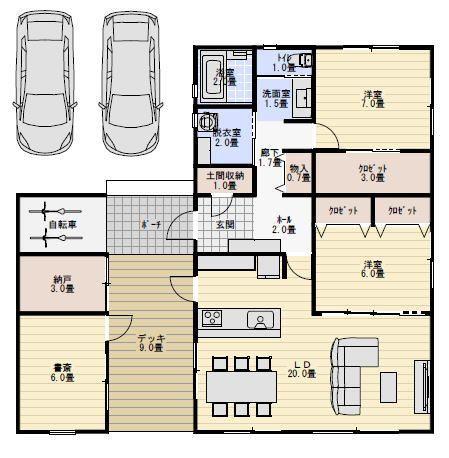 31坪3ldkの離れの書斎がある平屋の間取り図 平屋間取り 間取り