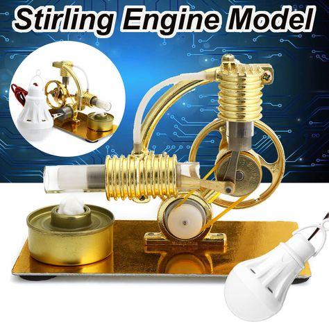Hot Air Stirling Engine Model Electricity Generator Motor LED Light Educational