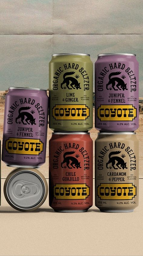 Coyote hard seltzer packaging by Laezza Studio