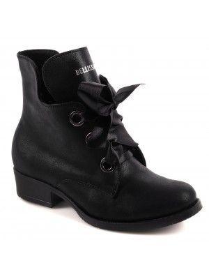 Polskie Trzewiki Botki Ocieplane Z Szarfa Lekko Polyskujace Czarne Oxford Shoes Womens Oxfords Shoes