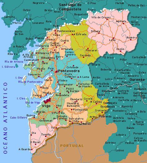 Mapa De Pontevedra Provincia.Mapa De Carreteras De La Provincia De Pontevedra Mapas De