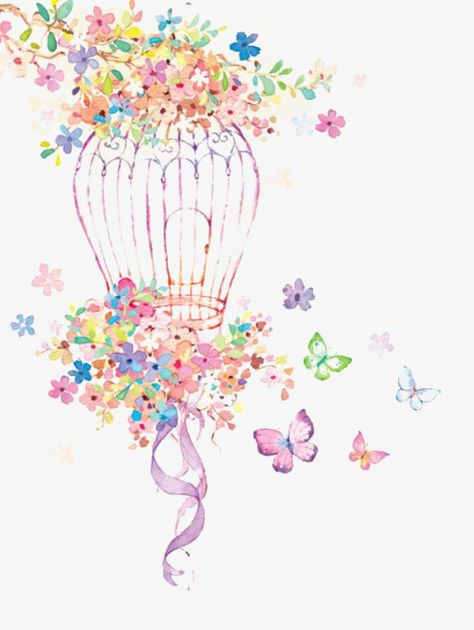 illustration,cartoon,hand painted,cage,dream,fairy tale,flowers,hand,painted,fairy,tale,art clipart,birdcage clipart