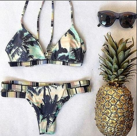 73d78b9e5b5 2015 Print Floral Palm Tree Bikini Set Swimsuit Padded Bra Swimwear Vintage Bathing  Suit