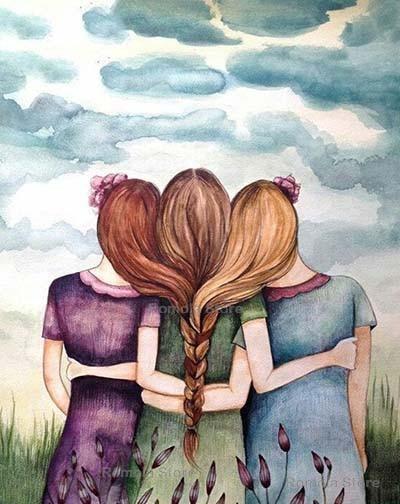 Three Friends Drawing : three, friends, drawing, Diamond, Painting, Three, Friends, Drawings, Friends,, Friend, Drawings,