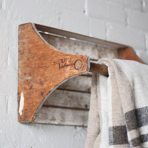 vintage berry tote . repurposed into a  towel rack