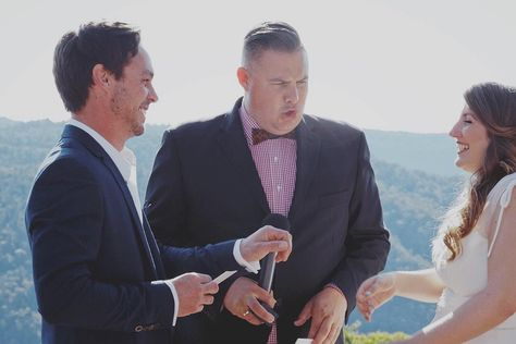 """An email from Robyn & Gavin: """"Thanks again for being the awesome relaxed and relaxing celebrant we were hoping for! We will write a proper review for you & Britt soon... But in the meantime my mum managed to capture one of those """"what is Josh saying here...?"""" moments!"""" #marriedbyjosh #goldcoastcelebrant #celebrant #marriagecelebrant #weddingcelebrant #officiant #binnaburra"""