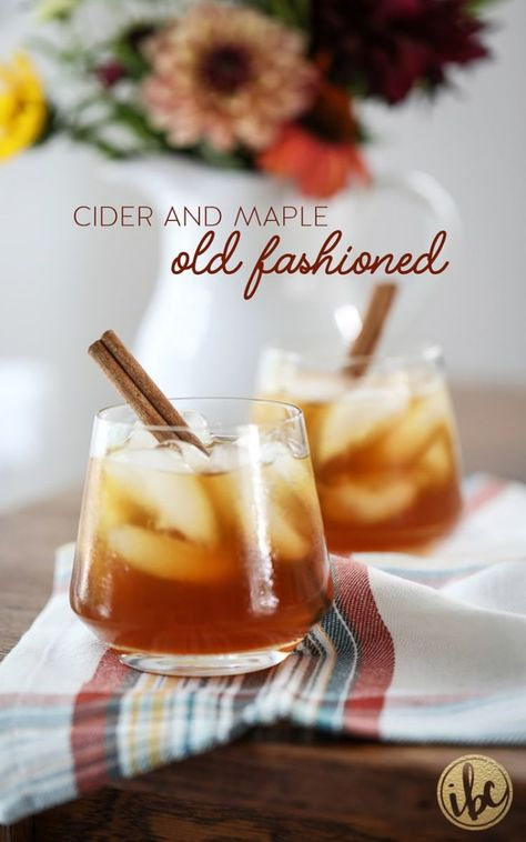 I took a classic old fashioned and added seasonal flavor with apple cider and pure maple syrup to create this Cider and Maple Old Fashioned.