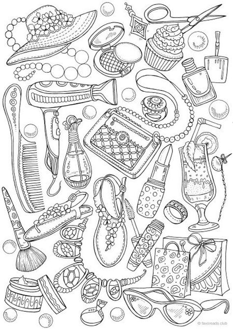 Girly Fashion - Printable Adult Coloring Page from Favoreads (Coloring book pages for adults and kids, Coloring sheets, Coloring designs)