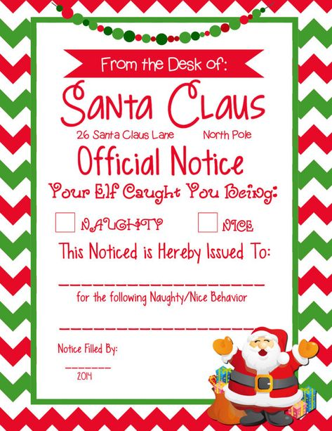 8.5x11 Elf Naughty/Nice Official Notice from Santa Certificate