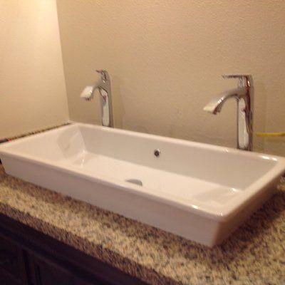 Gaia Ceramic Rectangular Vessel Bathroom Sink With Overflow Drop