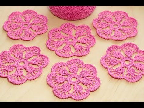 Crochet Flower Tutorial цветок с лепестками из шнура гусеничка