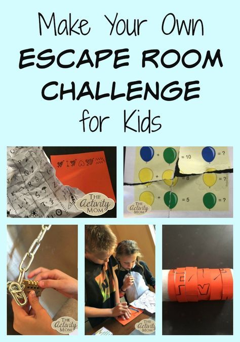 Make Your Own Escape Room Challenge For Kids The Activity Mom Escape Room Challenge Escape Room For Kids Escape Room Puzzles