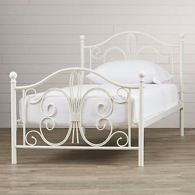 White Scroll Twin Full Queen Size Metal Platform Bed Frame Headboard Footboard Ebay Metal Platform Bed Platform Bed Frame Murphy Bed