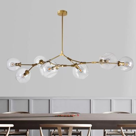 LUOLAX Modern Black Pendant Light Glass Chandelier with 7 Lights Fixture Hanging Flush Mount Heads-Clear) Linear Chandelier, Ceiling Lights, Hanging Light Fixtures, Chandelier Lighting, Gold Light Fixture, Modern Light Fixtures, Modern Pendant Light, Bubble Chandelier, Pendant Light Fixtures