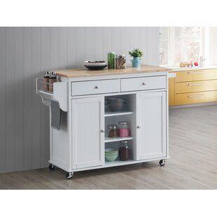 August Grove Almira Kitchen Island Kitchen Cart White Kitchen Cart Cottage Style Kitchen