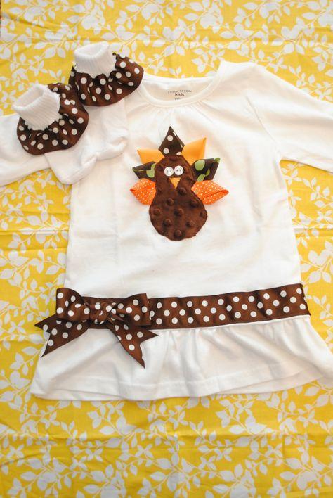 Thanksgiving Turkey Shirt with matching ruffle socks.  I like the ribbon above the ruffle on the shirt.