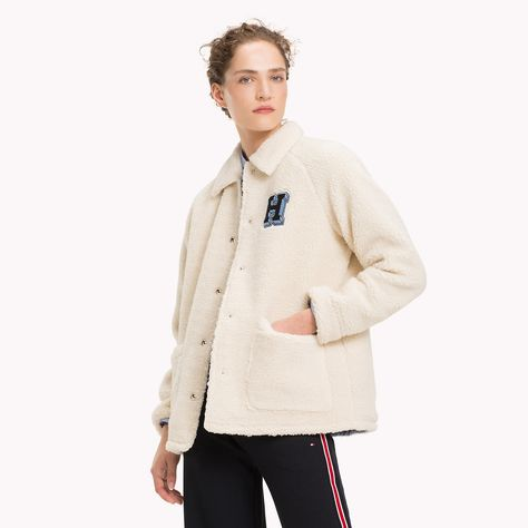 Veste sherpa femme beige
