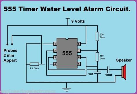 555 Timer Water Level Alarm Circuit Kit Circuit Circuit Diagram Electrical Projects
