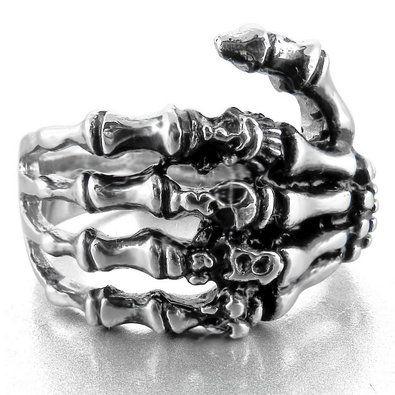 Stainless Steel Ring Band Silver Black Skull Hand Bone Gothic