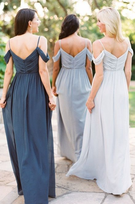 Off The Shoulder Removable Strap Chiffon Bridesmaid Dress In Dove Grey Platinum Grey Backless Bridesmaid Dress Long Bridesmaid Gowns Bridesmaid Gown Chiffon