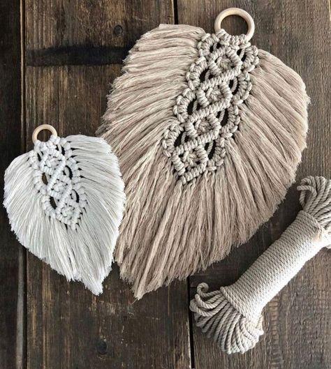 Excited to share this item from my #etsy shop: Macrame leaf #fiberart #art #macramefeather #macrameleaves #macrameknottedleaf #macrameleaf
