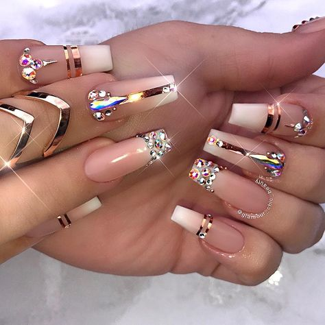 Nail art design ideas for summer   with rhinestones   foil stripe nail art   Instagram (@glamour_chic_beauty)