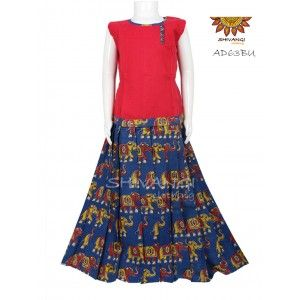 8d4075d040 Trendy kalamkari Pattupavadai highlighted by an attractive all-over  elephant print paired with cotton top