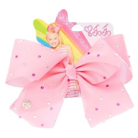 Claires Girls JoJo Siwa Large Rhinestone Pink Signature Hair Bow ** Details can be found by clicking on the image. (This is an affiliate link)