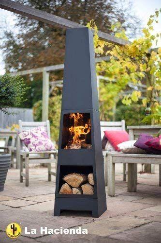 Free Cover La Hacienda Malmo Steel 150cm Chiminea Chimenea Patio Heater With Wood Store Amazon Backyard Fireplace Backyard Fireplace Patio Outdoor Fire Pit