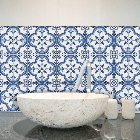Funlife Eco Friendly Pvc Waterproof Removable Portuguese Pattern Tiles And Floor Stickers For Dining Room Bathroom And Kitchen S Decoration With Images Bathroom Tile Stickers Kitchen Wall Decor Rooms Home Decor