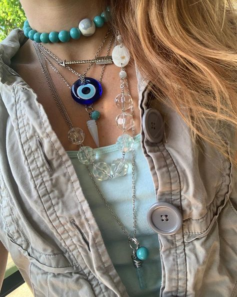 🧿Layering Necklaces🧿  Wear individually or as a set.  Picked up the evil eye amulet when I was in turkey last October.  A trip I'll never forget. 🧿 * * * * * * #necklace #necklaces #necklaceoftheday #necklacelover #necklaceshop #necklacesofinstagram #necklaceaddict #necklaceset #necklacestatement #necklacestack #necklacesets #beadednecklaces #longnecklaces #layerednecklaces #handmadenecklaces #necklacesale #necklacesforsale #statementnecklace #statementnecklaces #beadedjewelryofinstagram #bea