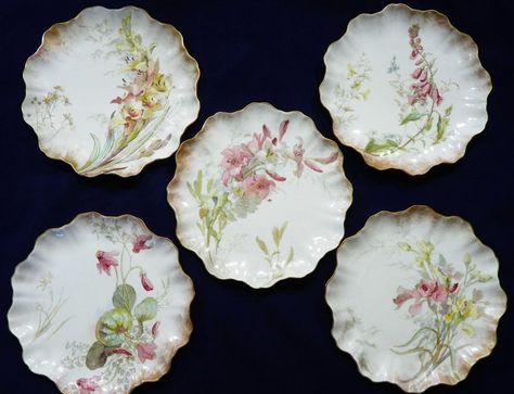 Antique Doulton Burslem Aesthetic Scalloped Floral Brushed Gold Porcelain Plates #DoultonBurslem