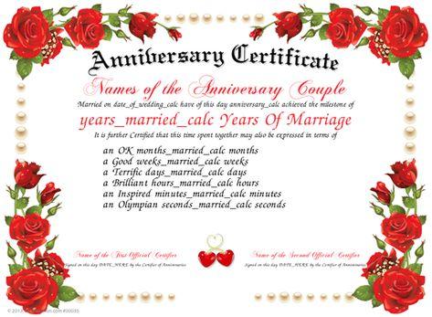Anniversary - Download and print a unique Anniversary Certificate - anniversary certificate template