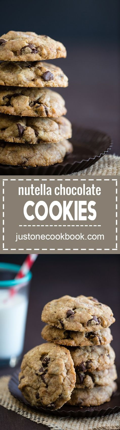 Chocolate Chip Cookies with Nutella - Best chocolate chip cookie recipe ever! Made with brown butter, stuffed with Nutella, and sprinkled with sea salt. #cookierecipes #chocolatechipcookies #saltedchocolatechipcookies #brownbutterchocolatechipcookies #nutellastuffedcookies #chocochipcookiesrecipe | Easy Japanese Recipes at JustOneCookbook.com