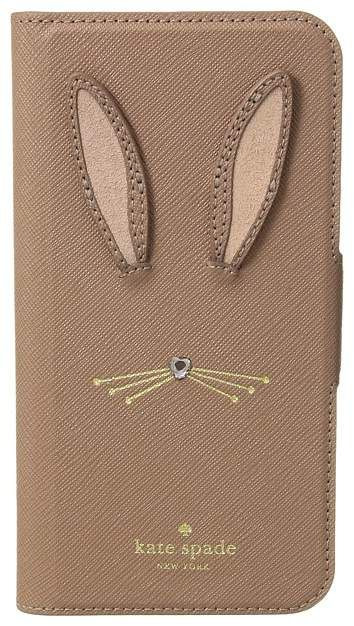 check out 51efb 4ebb6 Kate Spade Rabbit Applique Folio Phone Case for iPhone X Cell Phone ...