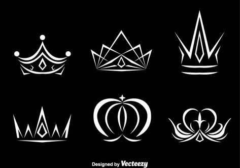Collection of various white crown logo vectors on a black background.